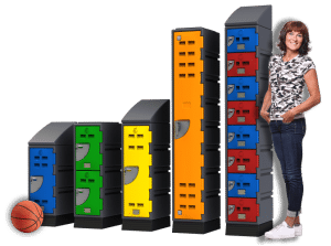 D Series Lockers and woman - 673px